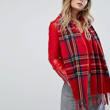 River Island Tartan Scarf With Fringing at asos.com