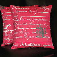 """Decorative Pillows White on Coral Pillow COVERS Script 20 inch Sherbet PINK, grey 20"""" Pillows"""