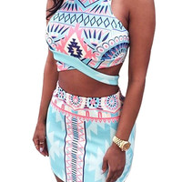 Multicolor Cross Front Co-ords With Geometry Print