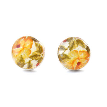 Yelow spring floral studs post earrings eco friendly floral jewelry wood jewelry etsy wood earrings flower jewelry eco fashion for her