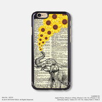 Daisy Elephant newspaper iPhone Case Black Hard case 374