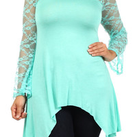 Plus Size Mint Lace Tunic