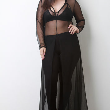 Semi-Sheer Mesh Long Sleeve Slit Cover-Up Maxi Dress