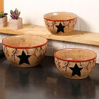 Country Rustic Primitive Bowl Set 3 Pc Mixing Serving Farmhouse Star Berries