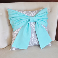 Throw Pillow Bright Aqua Bow on a Gray and White Damask Pillow 14x14 -Tiffany Blue Pillow-