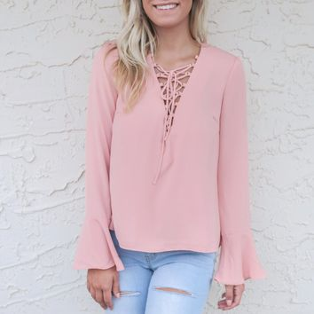 Cala Luna Mauve Natasha Lace Up Top