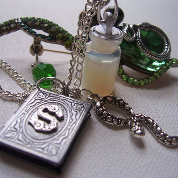 Snapes Memories charm necklace Slytherin love by 1luckysoul