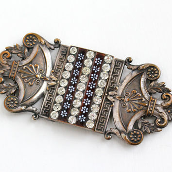 Antique Silver Plated French Rhinestone Sash Buckle - Art Nouveau 1910s Hallmarked PF Piel Freres Rare Brown White Enamel Flower Jewelry
