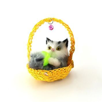 Cute Simulation Playing Ball kitten in the Basket Plush Dolls soft Cats Toys With a frame Kids Toys Decorations Birthday Gift