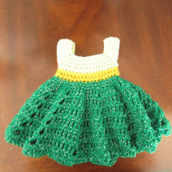 Handmade Tinkerbell fairy inspired sundress crochet dress for infant, baby, newborn girl 0-3 months