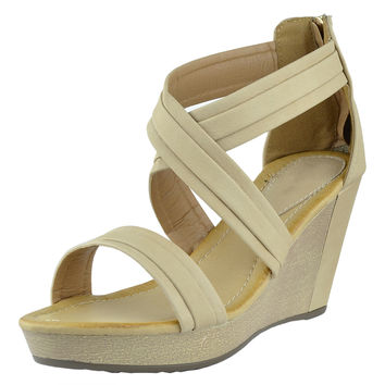 Womens Platform Sandals Cross Strap Two Tone High Wedge Shoes Tan SZ