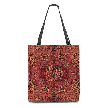 Bohemian Tote Bag in marsala red with floral lace pattern