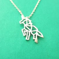 Unicorn Outline Cut Out Shaped Charm Necklace in Silver | Animal Jewelry