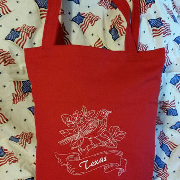 Tote bag with embroidered state bird Texas   or any state with state bird grocery bag beach bag