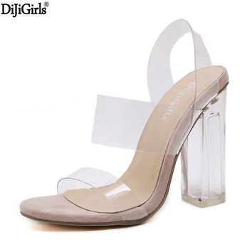 summer shoes woman 2017 vogue clear heels sexy gladiator transparent shoes jelly heeled sandals transparent heel thick heels
