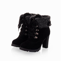 2016 Fashion Women Ankle Boots High Heels Lace up Platform Pumps Boots,women's shoes [7673168006]