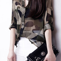 Camouflage Roll Up Sleeve Button Down Chiffon Blouse