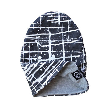 Reversible Slouchy Beanie - Boys Hat - Kids Hat - Baby Hat - Paint Splatter - Accessories - Organic Cotton