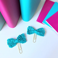 Teal Planner Clip / Planner Clips / Bow Planner Paper Clip / Teal Bow Clip / Gold Paper clip for planner / Charm / Planner accessories