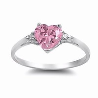 Patsy: Heart-cut Pink Ice on Fire CZ and IOF CZ Promise Friendship Ring 925 Silver, 3209A