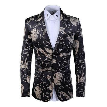 ICIKON3 3d musical note print men blazerluxuryMens velvet blazers slim fit single breasted wedding party blazer masculino