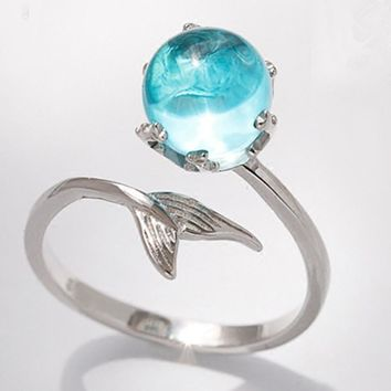 Sweet Adjustable Mermaid Tail Blue Rhinestone Bubble Finger Opening Women Ring Gift