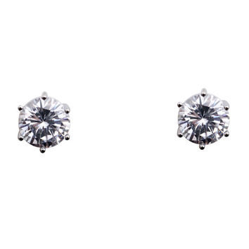 Cubic Zirconia Earrings Round Silver Plated Stud 8mm