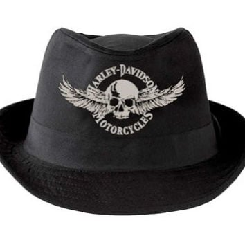 Harley-Davidson Mens Winged Skull Fedora HD-437