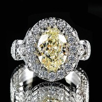 3.66 Oval Cut Yellow Diamond18k White Gold Halo Fancy Color Diamond Ring | World's Best