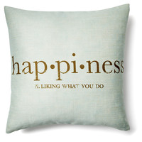 Happiness 20x20 Pillow, Light Blue, Decorative Pillows