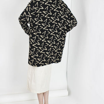 vtg duster jacket geometric print os draped layer black jacket long cardigan sweater medium med large lrg