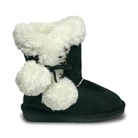 Toddlers' Side Tie Microfiber Boots - Black (Special Offer)