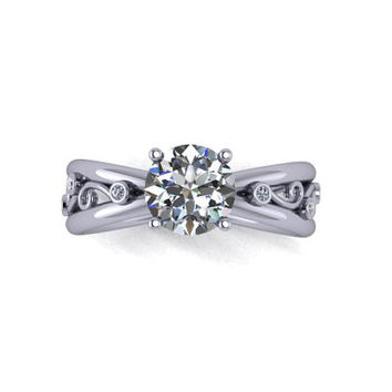 Engagement Ring, Sapphire, White Sapphire, Wedding Ring, 14K White Gold, Promise Ring Right Hand Ring RE00117