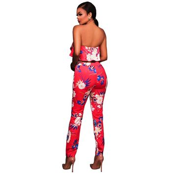 NEW Fashion Ruffles Print Floral Jumpsuit Women Two Piece Elegant Jumpsuit Female Overalls Off Shoulder Bodycon Rompers