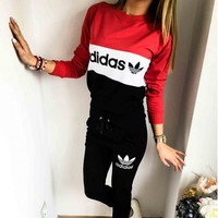 Adidas Fashion Drawstring Sport Running Pants Pullover Set Two-Piece Sportswear