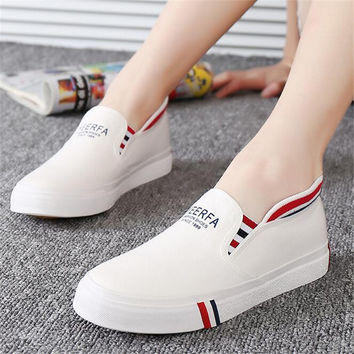 Shoelace female canvas shoes shallow mouth foot wrapping breathable canvas shoes female shoes pedal shoes lazy