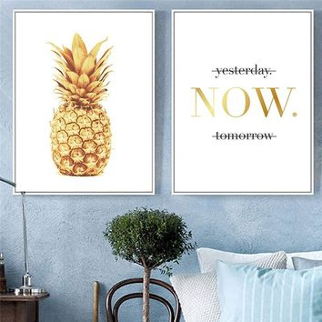 Modern Gold Pineapple & Aphorism Canvas Art Print Painting Wall Poster Pictures Wall Art for Bedroom Living Room Home Decor Fram