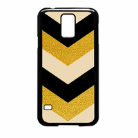 Chevron Classy Black And Gold Printed Samsung Galaxy S5 Case