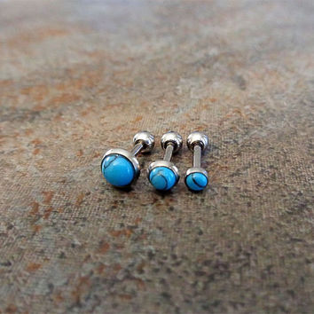 """Triple Helix Turquoise Cartilage Earrings, Triple Helix Turquoise, 5/16"""", Surgical Steel Piercing Jewelry 16G 1.2mm"""