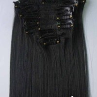 """DuaFire Free 22"""" 12pcs Full Head Clip in Synthetic Hair Extensions Straight NEW (#01-jet black)"""