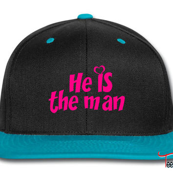 he is the man but she is the boss left Snapback