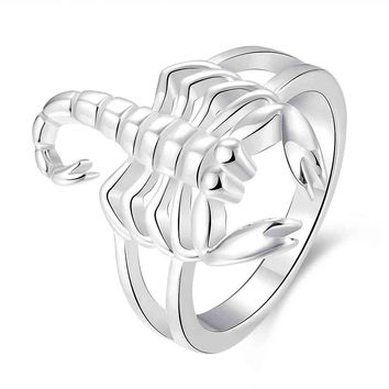 silver plated rings for women Scorpion aliancas jewelry display