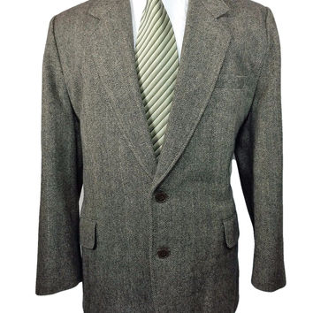 Bespoke AQ Brand Coat Jacket Gray Striped Herringbone Two Button Heavy Wool - 46R