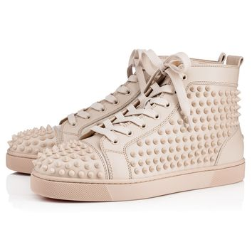 Best Online Sale Christian Louboutin Cl Louis Spikes Men's Flat Colombe/colombe Mat Leather 09w Shoes 1101083f179