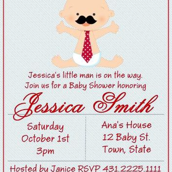 10 Little Man Mustache Baby Shower Invitations