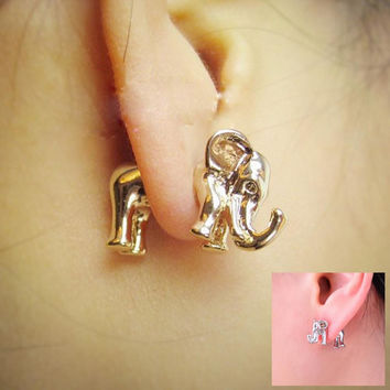 Kittenup 1 Pair Korea fashion 3D animal punk ear piercing jewelry Gold Color Silver Color elephant stud earrings for women 0302