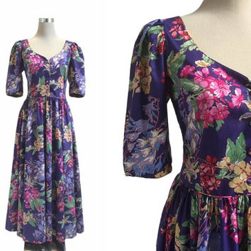 Vintage Laura Ashley Dress - 1980s - Purple Floral Print Dress - Vintage Dress