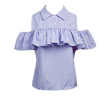 Trendy Summer Women Loose Ruffles Off the Shoulder Plaid Striped Blue Pink Shirts Top Casual Blouses