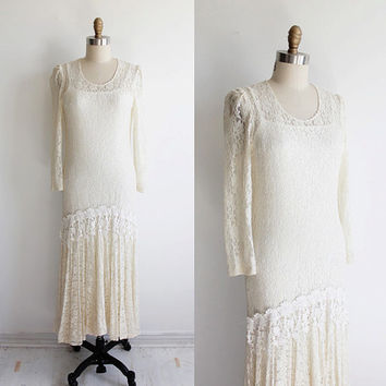 Vintage 70s White Lace Dropped Waist Bohemian Dress | small