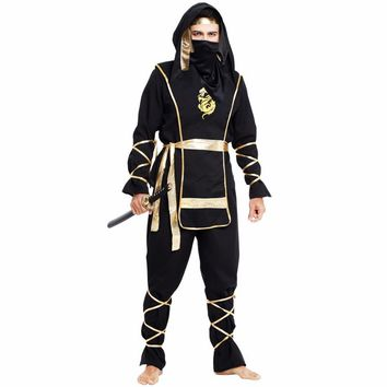 Man Adult  Black Ninja Costumes Halloween Party Clothing Hokkaido Samurai Suit Japanese Ninja Costume